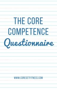Core Competence Questionnaire from CoresetFitness.com
